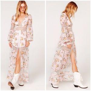 For Love & Lemons Rosa Marie Silk Maxi Dress Gown